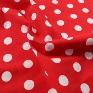 Red and White Spot Polyester Cotton, red white spot polycotton, red and white polka dot, red and white spot polycotton by the quarter metre, red and white spot polycotton by the half metre