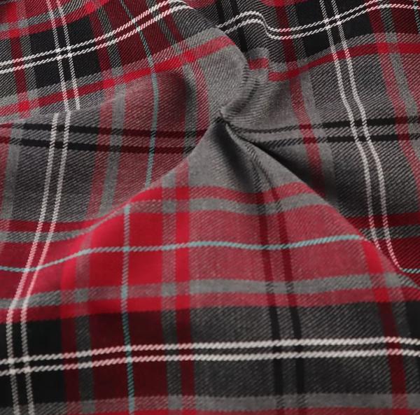Grey and Cherry Red Tartan, grey and red tartan, tartan by the quarter metre, tartan by the half metre, tartan by the metre, grey and red tartan by the metre