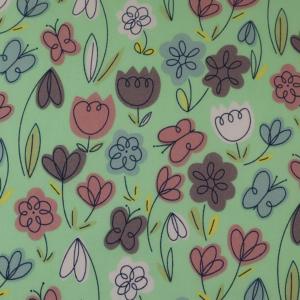Mint Floral polyester cotton, mint floral polycotton, mint floral fabric by the quarter metre, mint floral fabric by the half metre,