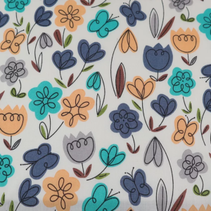 Ivory Floral Polyester Cotton, Ivory floral polycotton, ivory floral polycotton by the quarter metre, ivory floral polycotton by the half metre, ivory floral polycotton by the full metre