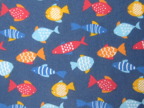 Navy Fish Polyester Cotton, Navy Fish Polycotton, fish print polycotton, fish fabric by the quarter metre, fish fabric by the half metre, fish fabric by the full metre